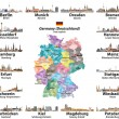 Vector set of Germany map with state capitals citi...