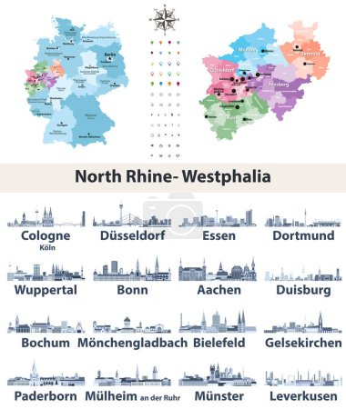 Vector map of Germany with state Norrth Rhine-West...