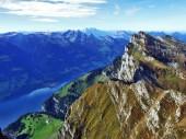 """Постер, картина, фотообои """"Панорамный вид с вершины Selun в Курфирстен горный хребет - кантон Санкт-Галлен, Швейцария"""""""
