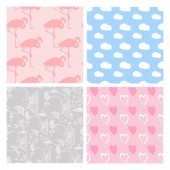 Collection of seamless patterns in pale pink in vector