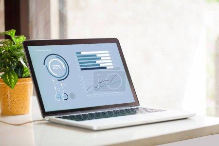 Photo pour Rapports d'entreprise futuristes avec graphiques et graphiques - image libre de droit