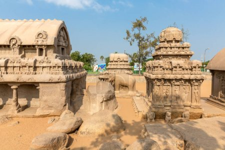 The Five Rathas, Bhima ratha, Elephant sculpture, Arjuna ratha, Mahabalipuram, Tamil Nadu, India