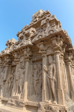 The Five Rathas, detail on Arjuna ratha,, Mahabalipuram, Tamil Nadu, India