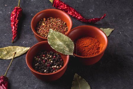 Food composition of various spices, dried peppers and bay leaves on dark background.