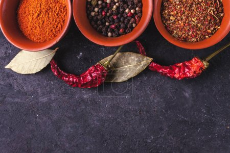 Row of various spices, dried peppers and bay leaves on dark background.