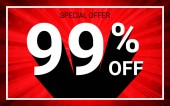 99% OFF Sale White color 3D text and black shadow on red burst background design Discount special offer promo advertising concept vector illustration