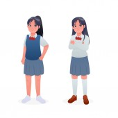 Cute Young Student Girl Wearing Japanese Uniform Character Design Cartoon Vector Illustration