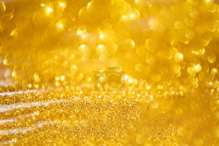 Photo for Decorative golden glitter lights background, Christmas and New Year party concept - Royalty Free Image
