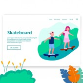 Landing Page Illustration Two Young People Playing Skateboard Web Homepage