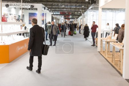 Photo for MILAN, ITALY - JANUARY 25: People visit HOMI, home international show and point of reference for all those in the sector of interior design on JANUARY 25, 2019 in Milan. - Royalty Free Image