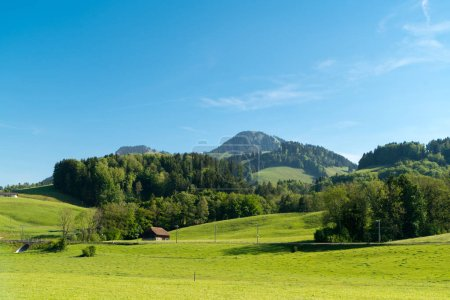 Photo for Spectacular panoramic view from the Gruyeres Castle (Chateau de Gruyeres), in the alpine foothills, Canton Fribourg, Switzerland - Royalty Free Image