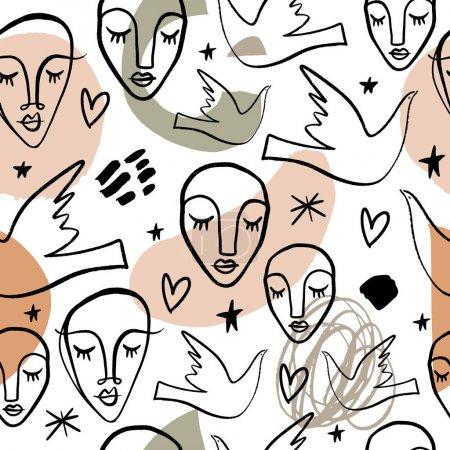 Illustration pour Motif sans couture art moderne avec des formes abstraites. Clip Art vectoriel - image libre de droit