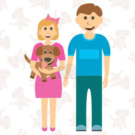 Happy children brother of sister and puppy. Dreamed of the dog. Vector illustration of cartoon.