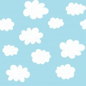 Cute Hand Drawn Abstract Clouds Vector Pattern White Fluffy Clouds Blue Background Simple Design Sweet Baby Shower Illustration