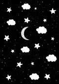 Starry Night Sky Abstract Vector Illustration White Moon Clouds and Stars Black Grunge Background Cute Childish Style Simple Cosmos Design