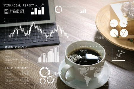 Financial report data of business operations (balance sheet and  income statement and diagram) as Fintech concept.Coffee cup and Digital table dock smart keyboard,gold gift box and round wood tray.