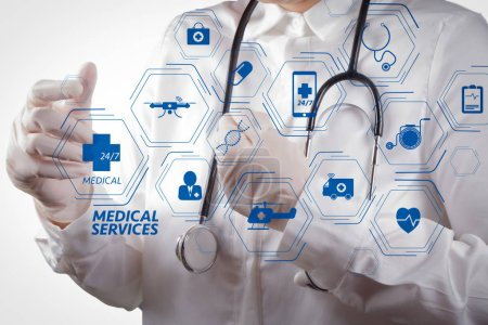 Photo for General Medical Services (GMS) and General Practitioners(GPs or family doctors) diagram.smart doctor working with virtual screen in modern hospital. - Royalty Free Image