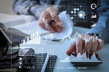 Investor analysiert Börsenbericht und Finanzinstrumentarium mit Business Intelligence (bi), mit Schlüsselindikatoren (kpi) .Geschäftsmann Hand arbeitet mit Finanzen über Kosten und Rechner.