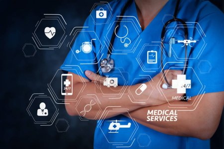 Photo for General Medical Services (GMS) and General Practitioners(GPs or family doctors) diagram.smart doctor and technology as medical concept - Royalty Free Image