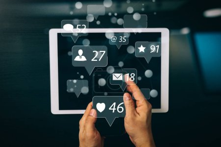 Social media and Marketing virtual icons screen concept.cyber security internet and networking concept.Businessman hand working with VR screen padlock icon on mobile phone and digital tablet computer