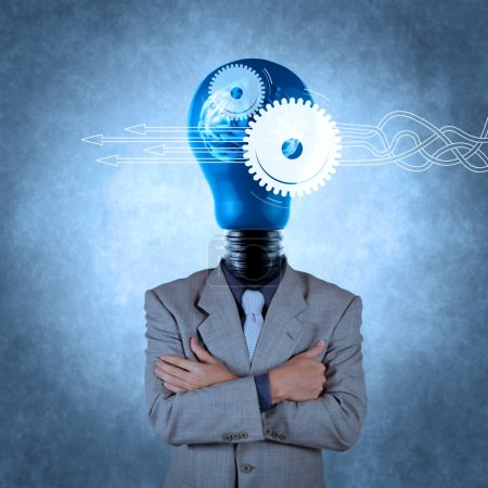 Thinking about structuring virtual diagram of business process with solutions. businessman with lamp-head 3d metal brain as concept