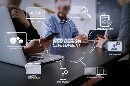 Developing programming and coding technologies with Website design in virtual diagram.co working team meeting concept,businessman using smart phone and digital tablet and laptop computer in modern office