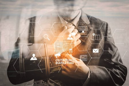 Outbound marketing business virtual dashboard with Offline or interruption marketing.Double exposure of success businessman holding neck tie with London building,Bigben,front view,filter effect