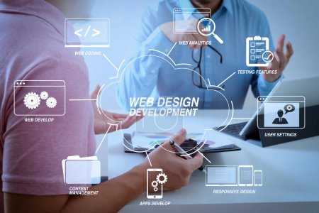 Developing programming and coding technologies with Website design in virtual diagram.Businessmen working together on a document and using smart phone and digital tablet and laptop computer in modern office
