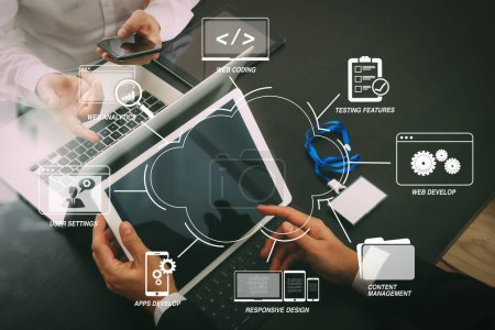 Developing programming and coding technologies with Website design in virtual diagram.co working team meeting concept,businessman using smart phone and digital tablet and laptop computer and name tag.