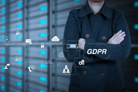 GDPR. Data Protection Regulation with Cyber security and privacy virtual diagram.businesswoman hand touch a cloud network concept