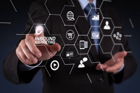 Inbound marketing business with virtual diagram dashboard and Online or permission market concept.businessman hand  working with touch screen in action