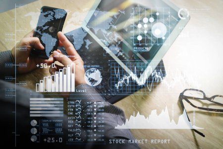 Investor analyzing stock market report and financial dashboard with business intelligence (BI), with key performance indicators (KPI).Businessman hand working concept. Photo professional investor working with new startup project.