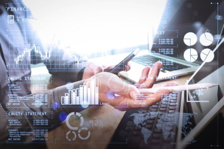 Investor analyzing stock market report and financial dashboard with business intelligence (BI), with key performance indicators (KPI).Businessman hand working concept. Photo professional investor working new startup project.