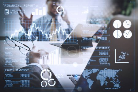 Investor analyzing stock market report and financial dashboard with business intelligence (BI), with key performance indicators (KPI).Business team meeting present. professional investor working new startup project.