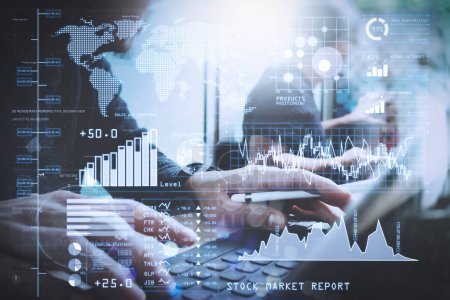 Investor analyzing stock market report and financial dashboard with business intelligence (BI), with key performance indicators (KPI).Coworking process, entrepreneur team working in creative office space.
