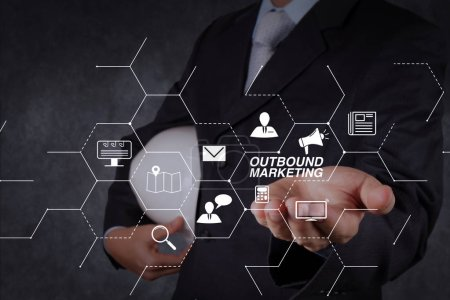 Outbound marketing business virtual dashboard with Offline or interruption marketing.smart engineer working on newtechnology