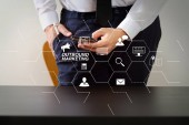 Outbound marketing business virtual dashboard with Offline or interruption marketing.close up of businessman working with smart phone on wooden desk in modern office