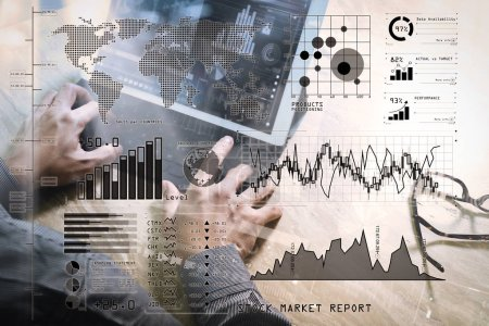 Investor analyzing stock market report and financial dashboard with business intelligence (BI), with key performance indicators (KPI).Businessman hand working concept. Photo investor working with new startup project.