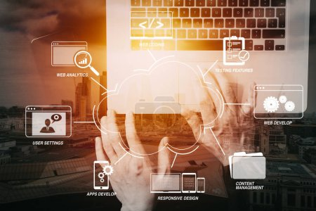 Photo for Developing programming and coding technologies with Website design in virtual diagram.cyber security internet and networking concept.Businessman hand working with VR screen padlock icon mobile phone. - Royalty Free Image