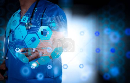 Health care and medical services concept with world or global form and AR interface.Double exposure of Medicine doctor hand working with modern computer interface as medical concept