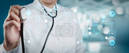 Photo for Health care and medical technology services concept with cinematography screen and AR interface.Smart medical doctor working with operating room as concept - Royalty Free Image