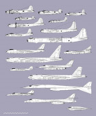 History of american bombers  Aircraft profiles Outline vector drawing