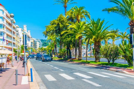 NICE, FRANCE, JUNE 11, 2017: View of the promenade des anglais in Nice, Franc