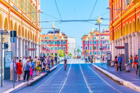 NICE, FRANCE, JUNE 11, 2017: View of traffic on Avenue Jean Medecin in the center of Nice, Franc