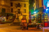 CARCASSONNE, FRANCE, JUNE 28, 2017: Night view of a small square in the old town of Carcassonne, Franc