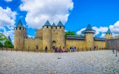 CARCASSONNE, FRANCE, JUNE 28, 2017: Chateau comtal in Carcassonne, France