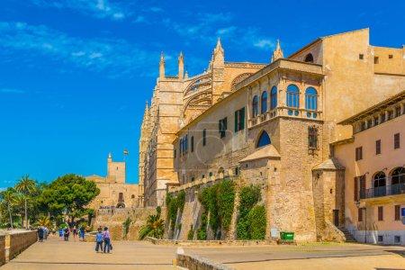 PALMA DE MALLORCA, SPAIN, MAY 18, 2017: People are passing the Catedral de Mallorca at Palma de Mallorca, Spai