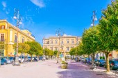 ENNA, ITALY, APRIL 24, 2017: View of a small square in Enna, Sicily, Ital