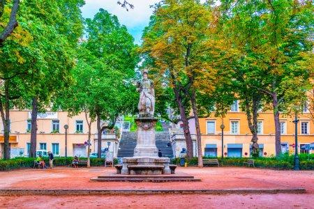 LYON, FRANCE, JULY 22, 2017: Statue of Serge Blandan in Lyon, Franc