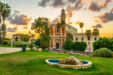 Saint Peter church viewed from HaPisgah gardens in Jaffa, Tel Av